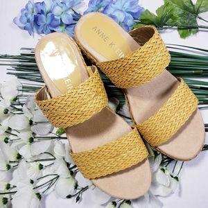 Anne Klein Womens Zala Yellow Wedge Sandals Size 7